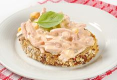 Open faced ham salad sandwich Royalty Free Stock Photography