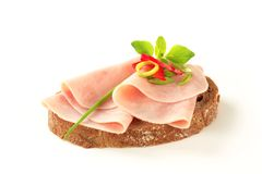 Open faced ham sandwich. Thin-sliced ham on brown bread Stock Photography