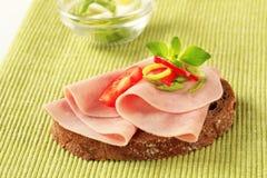 Open faced ham sandwich Royalty Free Stock Photo