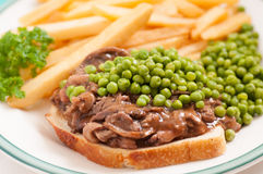 Open faced hot beef sandwich Royalty Free Stock Image