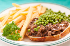 Open faced hot beef sandwich Royalty Free Stock Photos