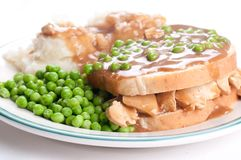 Open faced hot chicken sandwich Stock Photo