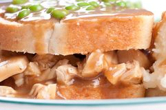 Open faced hot chicken sandwich Stock Images