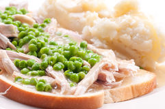 Open faced hot chicken sandwich Royalty Free Stock Photos
