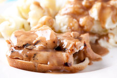 Open faced hot chicken sandwich Royalty Free Stock Photo