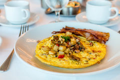 Open Faced Omelet with Bacon Royalty Free Stock Image