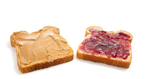Open faced peanut butter and jelly sandwich. An open faced peanut butter and jelly sandwich royalty free stock photos