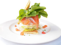 Open faced salmon sandwich Royalty Free Stock Image