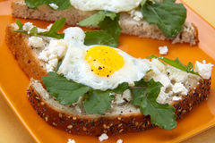 Open-Faced Sandwich with Fried Egg. Closeup of delicious open-face sandwiches with feta cheese, arugula, and fried quail eggs Royalty Free Stock Images