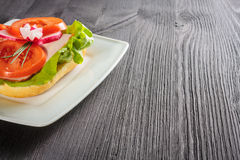 Open faced sandwich. With ham meat Stock Image