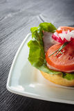 Open faced sandwich with ham meat. Close up Royalty Free Stock Photography