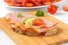 Open faced sandwiches Stock Photos