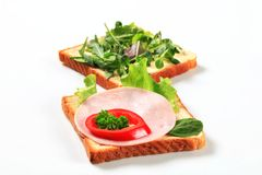 Open faced sandwiches Stock Photo