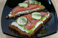 Open-faced smoked salmon sandwich Stock Image