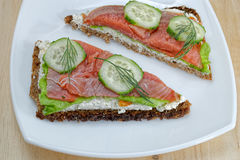 Open-faced smoked salmon sandwich Royalty Free Stock Images