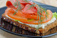 Open-faced smoked salmon sandwich Royalty Free Stock Photo