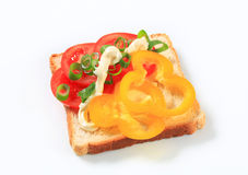 Open faced vegetable sandwich. Open faced tomato and pepper sandwich Royalty Free Stock Image