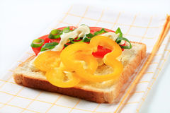 Open faced vegetable sandwich. Open faced tomato and pepper sandwich Royalty Free Stock Photos