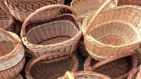 Open Fair Folk. Baskets made of wood stock video footage