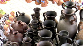 Open Fair Folk. Clay pots stock footage