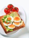 Open a fait face au sandwich à oeufs Image stock