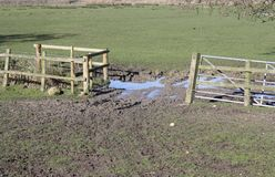 Open farm gate. An open farm gate in a field showing mud and water where the animals have gone through Royalty Free Stock Photography
