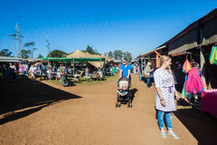 Open Farmers Market Families Stock Images