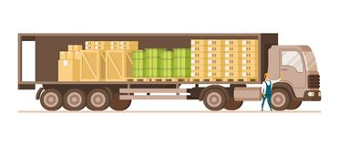 Open Fast Delivery Load Truck Full of Cargo Goods. Side View of Van with Cardboard and Wooden Box. Factory Worker Character in Uniform Standing Infront. Flat stock illustration