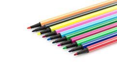 Open felt pens isolated on white. Background Stock Photography