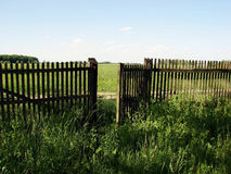 Open fence door. An old wooden fence with an open gate door Royalty Free Stock Images