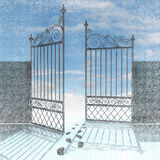 Open fence with footprints in snow winter Royalty Free Stock Photography