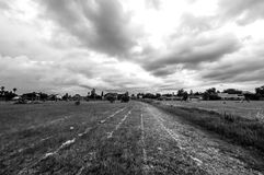 Open field in brakpan black and white Royalty Free Stock Images