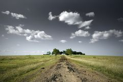 Open Field and a Dirt Road. Trees in the distance Royalty Free Stock Photos