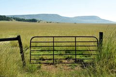 Open field entry. A locked gate in the rural northern KZN Royalty Free Stock Image