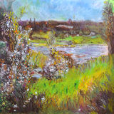 Open Field Meadow with Lake and Blossoming Vegetation. A textured oil pastel drawing of an open field meadow with a lake, blue sky, and some houses and building Royalty Free Stock Images