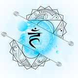 Open fifth Throat chakra visuddha on light blue watercolor backg. Round. Yoga icon, healthy lifestyle concept. Vector illustration Stock Images