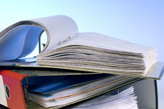 Open file folder. On a stack of folders Stock Image