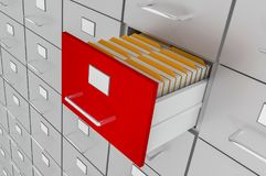 Open filing cabinet drawer with documents inside. Data collection concept. 3D rendered illustration Stock Photo