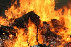 Open fire. A hot burning fire royalty free stock images