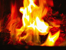 Open fire close-up. Close-up of flames burning in a fireplace Royalty Free Stock Photos
