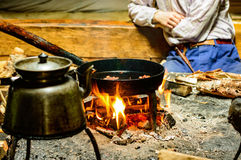 Open fire cooking Royalty Free Stock Photography