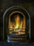 Open Fire. Cosy old Victorian open fire burning Stock Photo