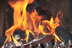 Open fire flames burning Royalty Free Stock Photos