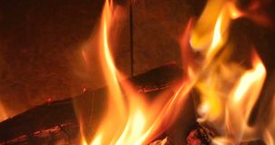 Open fire flames in an oven stock footage