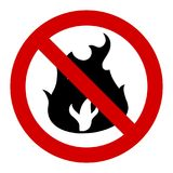 Open fire forbidden. No fires - forbidden bonfires and campfires. Fire banned in forest - vector sign Royalty Free Stock Photos