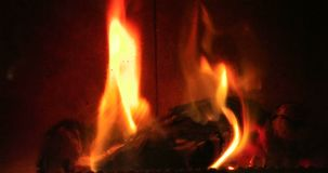 Open fire in an oven stock footage