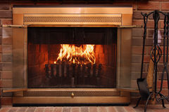 Open fire place. Close up on an Open fire place royalty free stock photography