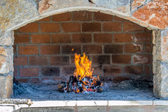 Open fire place oven Stock Images