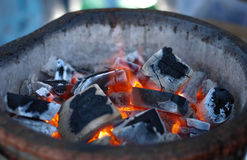 Open fire. View of burning fireplace with fire and embers royalty free stock photos