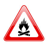 Open fire warning sign. Open fire warning vector sign Royalty Free Stock Images
